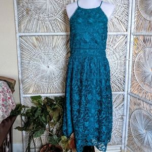 Dress: Lace Teal Sleeveless Fit & Flatter